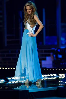 Doukissa Nomikou Miss Greece in evening gown