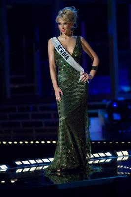 Miss Serbia Teodora Marcic in evening gown