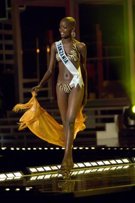 Miss Tanzania Flaviana Matata in swimsuit