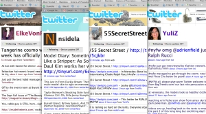 Screen shots of some Fashion Week Twitterers
